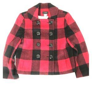 J. Crew | Buffalo-check Plaid Black Red Coat Sz 4